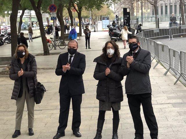 Els síndics de l'1-O encausats davant la Ciutat de la Justícia de Barcelona. Catalunya (Espanya), 3 de març del 2021.