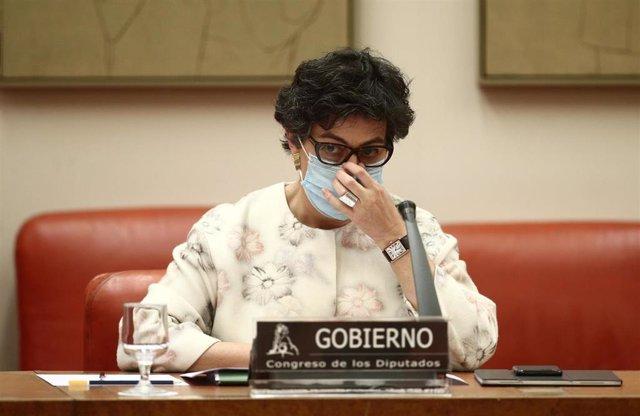La ministra de Asuntos Exteriores, Arancha González Laya, durante una Comisión de Asuntos Exteriores en el Congreso de los Diputados