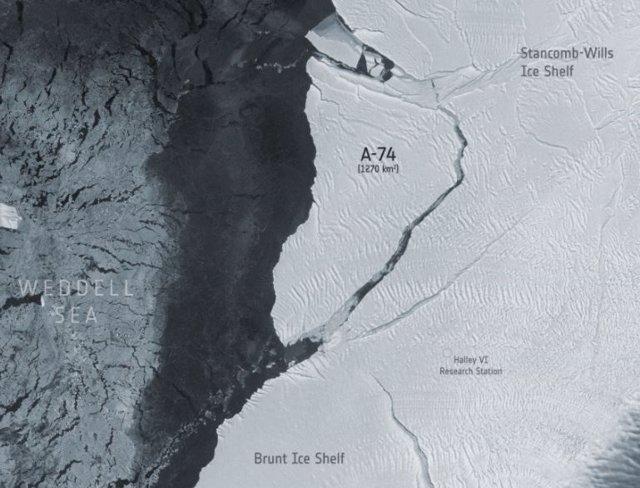Imagen satelital del iceberg A-74