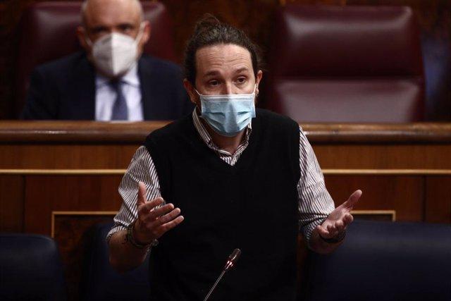 El vicepresidente segundo del Gobierno, Pablo Iglesias, durante una sesión de Control al Gobierno en el Congreso de los Diputados, en Madrid, (España), a 24 de febrero de 2021.