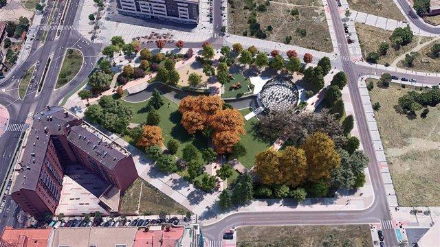 Simulación del diseño de la futura plaza de la Ciudad de la Comunicación de Valladolid.