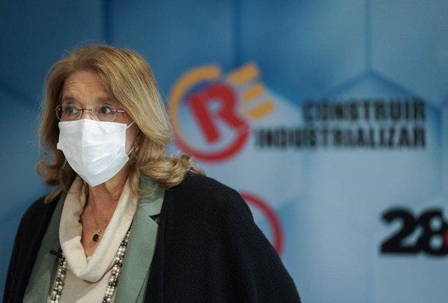 La vicesecretaria de Sectorial del PP, Elvira Rodríguez, asiste al 28 congreso de UGT. En Madrid, a 3 de marzo de 2021.