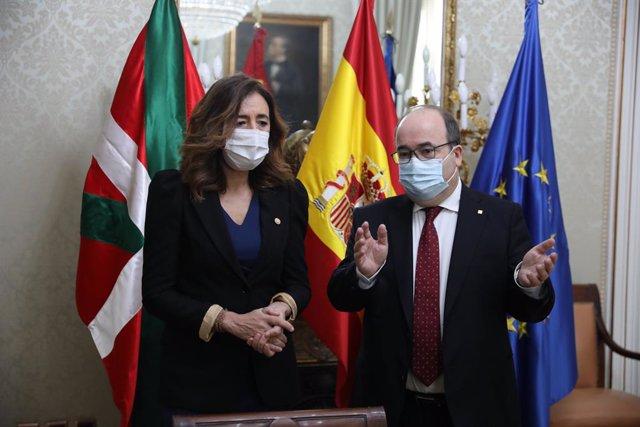 El ministro de Política Territorial y Función Pública, Miquel Iceta, durante una reunión de trabajo programada con la consejera de Gobernanza Pública y Autogobierno del Gobierno Vasco, Olatz Garamendi, en Madrid, (España), a 3 de marzo de 2021. Para el Go