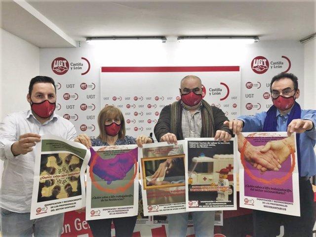 Carteles de la campaña de la FeSP de UGT en Castilla y León para reclamar el reconocimiento de los empleados públicos.