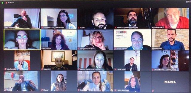 Reunión telemática de trabajadores y responsables del proyecto Cáceres Impulsa
