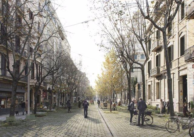 El Govern de Colau projecta una superilla a l'Eixample sense asfalt i més verd.
