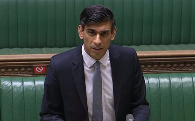 HANDOUT - 03 March 2021, United Kingdom, London: A screengrab shows UK Chancellor of the Exchequer Rishi Sunak delivering the UK's 2021 budget at the House of Commons. Photo: -/House Of Commons via PA Wire/dpa - ATTENTION: editorial use only and only if t