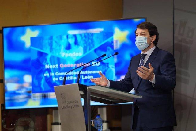 Mañueco presenta en rueda de prensa la estrategia de captación de fondos europeos