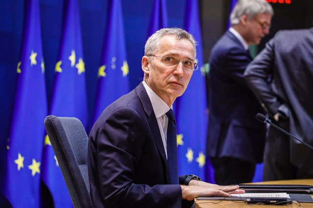 HANDOUT - 26 February 2021, Belgium, Brussels: The North Atlantic Treaty Organization (NATO) Secretary General Jens Stoltenberg attends a video conference with the EU leaders on European security, defence policy and relations with their southern neighbour