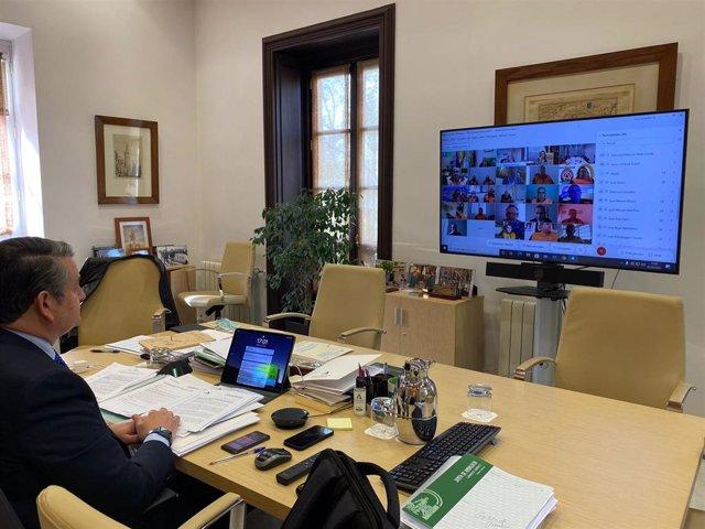 El viceconsejero de la Presidencia, Administración Pública e Interior de la Junta de Andalucía, Antonio Sanz, en las 'Jornadas Provinciales del Voluntariado de Protección Civil'