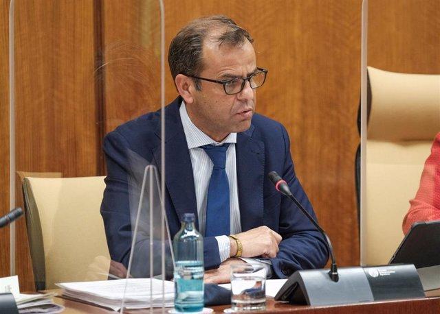 El director general de la RTVA, Juan de Dios Mellado, este miércoles en el Parlamento.