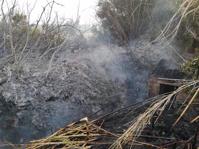 Fuego declarado en Santa Eulària des Riu, en Ibiza.