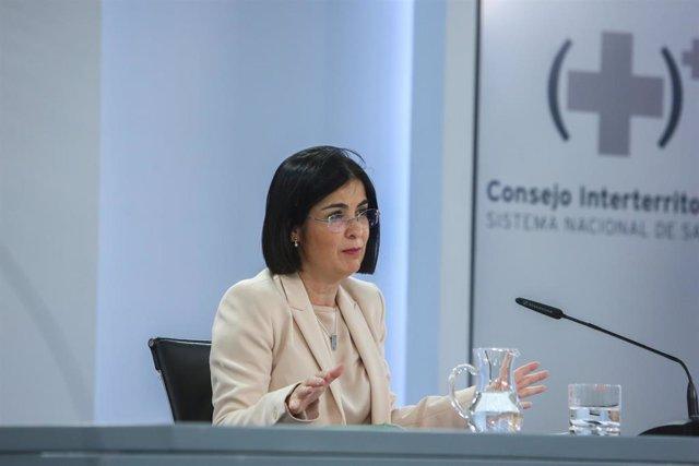 La ministra de Sanidad, Carolina Darias, ofrece una rueda de prensa tras la reunión del Consejo Interterritorial del Sistema Nacional de Salud en el complejo de la Moncloa, Madrid, (España), a 24 de febrero de 2021. Darias ha informado de que el CISNS, en