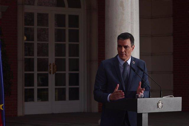 El presidente del Gobierno, Pedro Sánchez, ofrece una rueda de prensa en Moncloa el pasado 26 de febrero