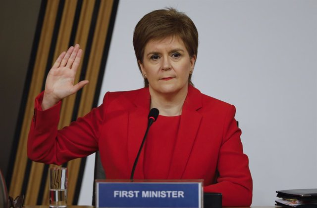 HANDOUT - 03 March 2021, United Kingdom, Edinburgh: First Minister of Scotland Nicola Sturgeon takes an oath before giving evidence to the Scottish Parliament's Committee on the Scottish government handling of harassment allegations against former first m