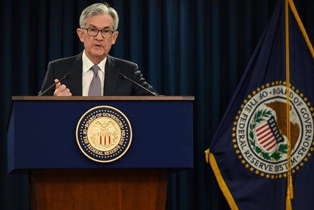 Archivo - El presidente de la Reserva Federal (Fed), durante la rueda de prensa posterior a la reunión del organismo el 29 de enero de 2019.