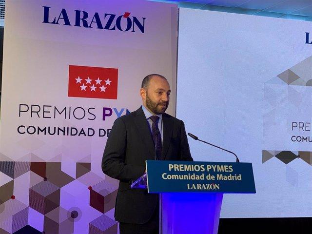 El consejero de Economía, Empleo y Competitividad, Manuel Giménez, durante la entrega de los Premios Pymes Comunidad de Madrid, organizados por el periódico La Razón.