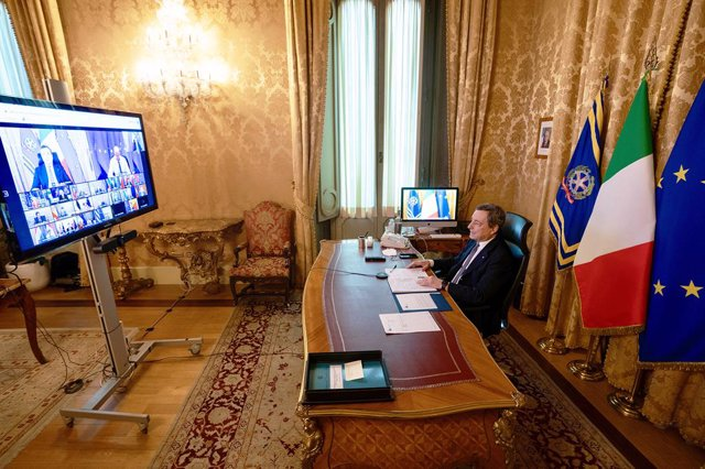 HANDOUT - 25 February 2021, Italy, Rome: Italian Prime Minister Mario Draghi takes part via videolink in a special EU summit of heads of state and governments on the Coronavirus pandemic. Photo: Filippo Attili/Italian Government/dpa - ATTENTION: editorial