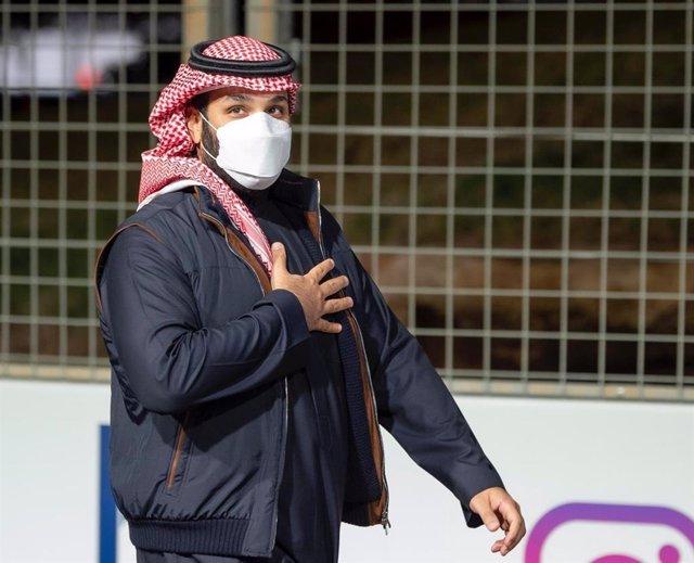 27 February 2021, Saudi Arabia, Ad Diriyah: Saudi Crown Prince Mohammed bin Salman attends the second round of the 2021 Diriyah E-Prix of the FIA Formula E World Championship. Photo: -/Saudi Press Agency/dpa