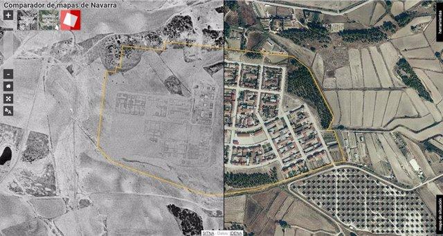 Comparación de las fotos aéreas de Rada en 1957, durante la construcción de la localidad, y en 2020.