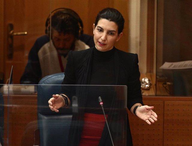 Archivo - La portavoz de Vox en la Asamblea de Madrid, Rocío Monasterio, interviene durante una sesión extraordinaria en la Asamblea de Madrid (España), a 21 de enero de 2021. En el pleno se debate la Declaración Institucional sobre zonas catastróficas en
