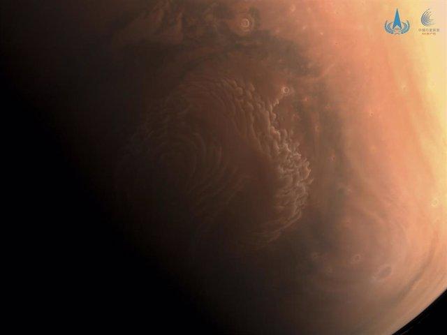 Imagen del polo norte de Marte tomada por Tianwen 1