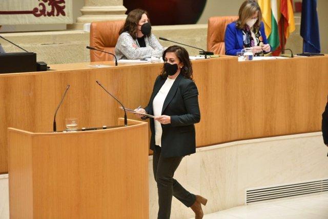 La presidenta de La Rioja, Concha Andreu, se dirige a la tribuna en el Parlamento
