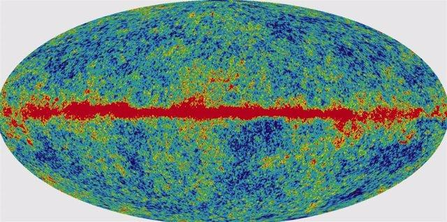 Imagen de la distribución del fondo de radiación cósmico unos 700 000 años después del Big Bang o Gran Explosión. Generalmente se asume que pudo haber tenido lugar hace unos 13 700 millones de años.