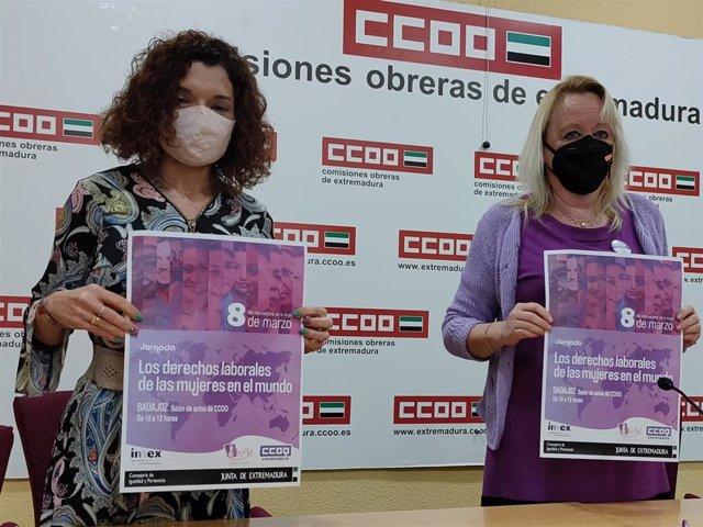 Lourdes Núñez y Encarna Chacón, en la presentación de actividades del 8M de CCOO.