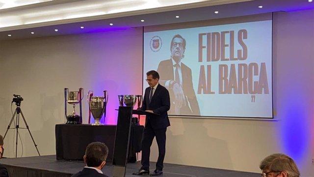 El candidato a la presidencia del FC Barcelona Toni Freixa, en rueda de prensa de balance de la campaña electoral