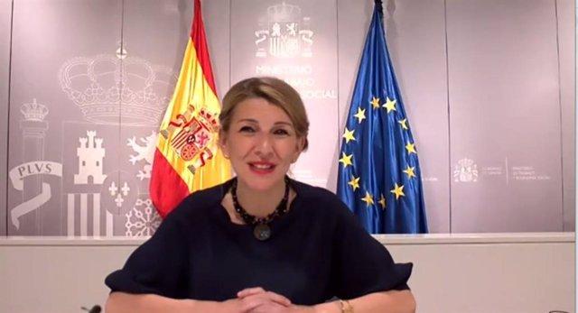 Archivo - La ministra de Trabajo, Yolanda Díaz, en la ponencia inaugural de la jornada por el Día Internacional de las Mujeres del Cicac