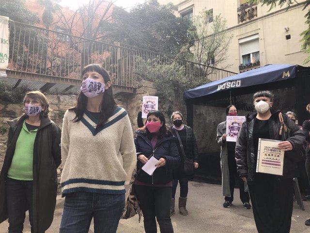 Rueda de prensa de presentación de los actos que el colectivo Vaga Feminista ha programado para los días 7 y 8 de marzo del 2021, en ocasión del Día Internacional de la Mujer, en Barcelona a 4 de marzo del 2021.