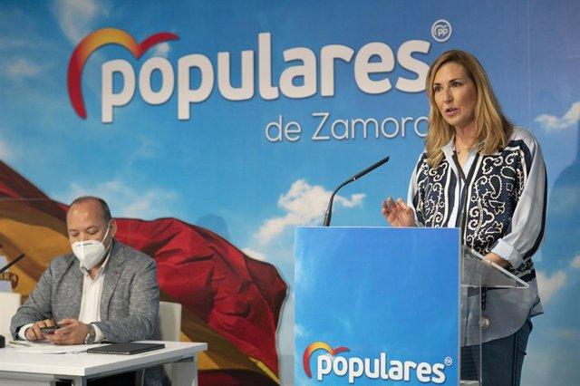 La vicesecretaria de Organización del PP, Ana Beltrán, participa en la Junta Directiva del PP de Zamora. En Zamora, a 4 de marzo de 2021.