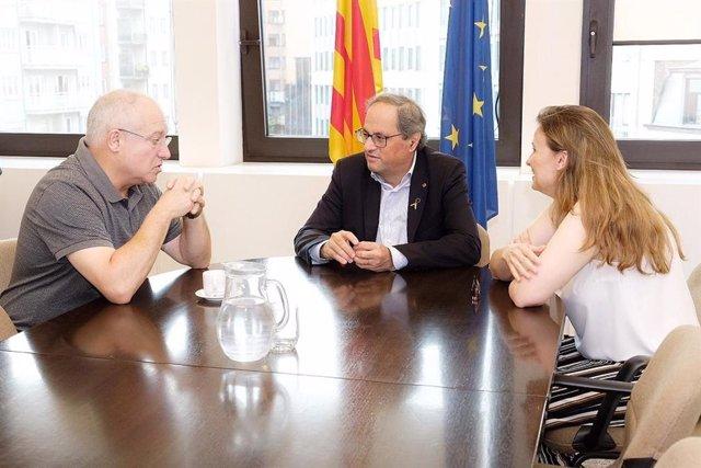 Archivo - L'expresident de la Generalitat, Quim Torra, i els exconsellers Lluís Puig i Meritxell Serret en una imatge d'arxiu.