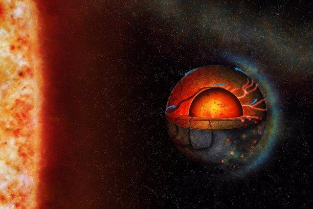 La Ilustración De Este Artista Representa La Posible Dinámica Interior Del Exoplaneta Super-Terrestre LHS 3844B. Las Propiedades Interiores Del Planeta Y La Fuerte Irradiación Estelar Podrían Conducir A Un Régimen Tectónico Hemisférico.