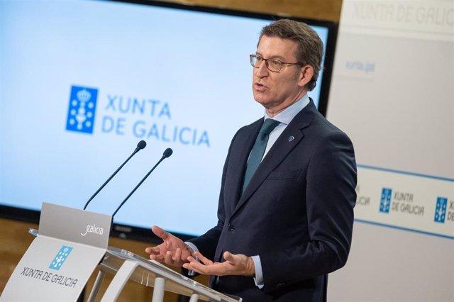 Feijóo, en la rueda de prensa posterior al Consello de la Xunta.