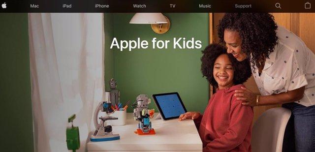 Sección Apple for kids de la web de Apple.