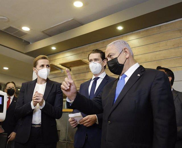 Mette Frederiksen, Sebastian Kurz y Benjamin Netanyahu