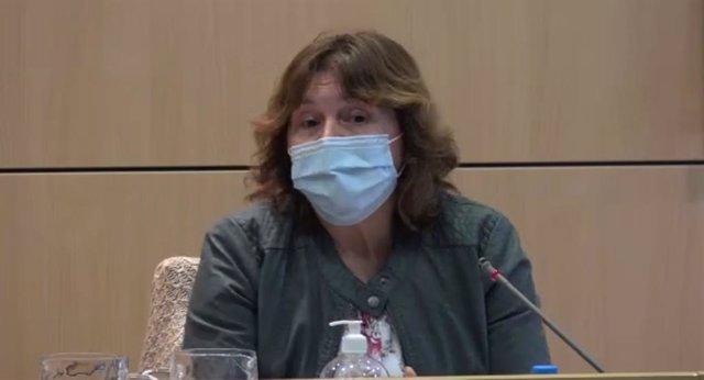 La exvicepresidenta del IMAS (2016-2019) Caterina Mas, en la comisión política del Consell que analiza los casos de explotación sexual infantil.