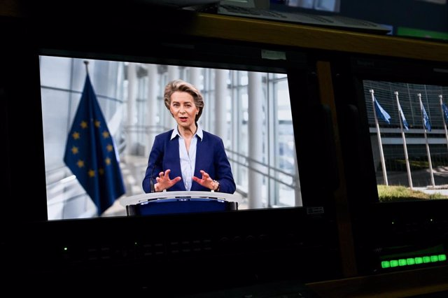 HANDOUT - 23 February 2021, Belgium, Brussels: European Commission President Ursula von der Leyen delivers her speech at the opening of the Europe's flagship annual event on industry EU Industry Days 2021. Photo: Etienne Ansotte/European Commission/dpa -