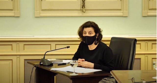 La consellera de Asuntos Sociales y Deportes, Fina Santiago, durante la comisión parlamentaria.