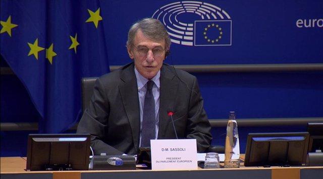 El presidente del Parlamento Europeo, David Sassoli, en la reunión organizada este jueves por la presidenta de la Comisión de Derechos de la Mujer e Igualdad de Género, Evelyn Regner, con motivo del Día Internacional de la Mujer