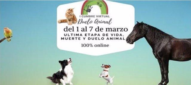 Cartel de la I Cumbre Virtual Internacional del Duelo Animal.