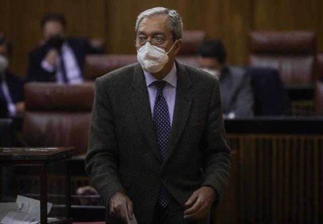El consejero de Transformación Económica, Rogelio Velasco, este miércoles en el Pleno del Parlamento.