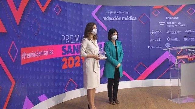 La ministra de Sanidad, Carolina Darias, en la entrega de los Premios 'Santiarias' 2021