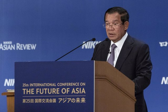 Archivo - 30 May 2019, Japan, Tokyo: Prime Minister of Cambodia speaks during the 25th International Conference on The Future of Asia in Tokyo. The annual event invites leaders from Asian countries for two days to discuss issues that affect their countrie