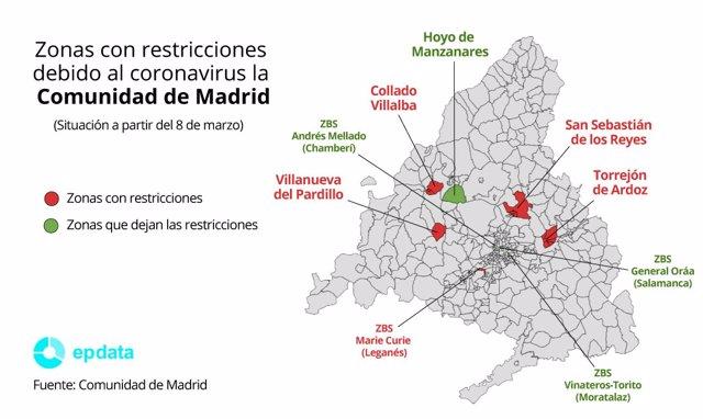 Zonas con restricciones debido al coronavirus la Comunidad de Madrid a partir del 8 de marzo