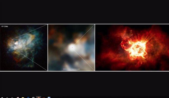 Este zoom en VY Canis Majoris es una combinación de imágenes del Hubble y la impresión de un artista.