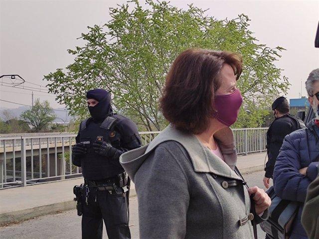 Elisenda Paluzie (ANC) en una concentració contra la visita del rei a la planta de Seat a Martorell (Barcelona).