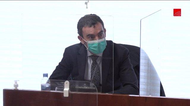 El exgerente de la Agencia Madrileña de Atención Social (AMAS), Óscar Álvarez, en la comisión de investigación de Residencias y Covid-19 en la Asamblea de Madrid